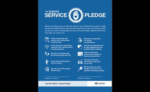 Subaru Service Pledge project