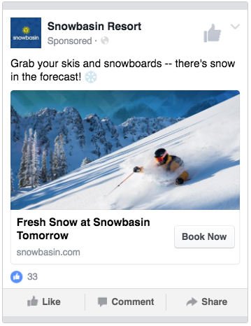 Snowbasin Resort - Snow in the forecast ad