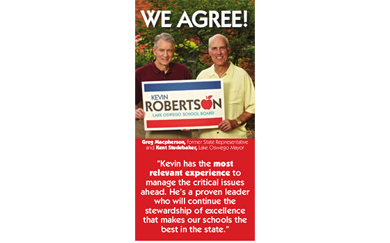 Advertising for Kevin Roberston for Lake Oswego School Board Political Campaign