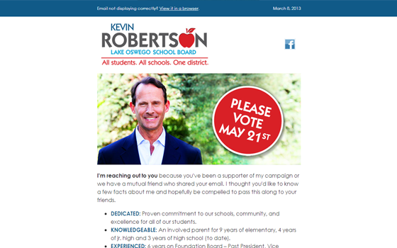 Email for Kevin Roberston for Lake Oswego School Board Political Campaign