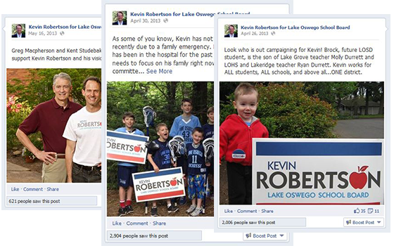 Facebook for Kevin Roberston for Lake Oswego School Board Political Campaign