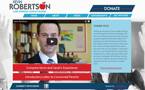 Website for Kevin Roberston for Lake Oswego School Board Political Campaign